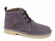 Roamers TRACY Ladies 3 Eyelet Lace Up Suede Leather Casual Desert Boots Plum