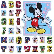 Letter A-Z Cartoon Mickey Embroidered Applique Iron On Sew Patch DIY Accessory