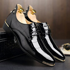 2016 men shoes oxfords lace up pointed toe patent leather shoes Casual rubber