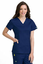 Vivi by Med Couture Women's Ivy V-Neck Princess Seam Scrub Top 5401-Navy