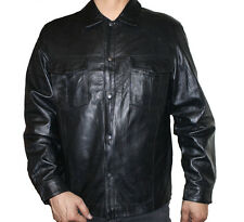 Men's Black Jacket Genuine Lamb Leather Snaps Closure Brand New  ~Style #641