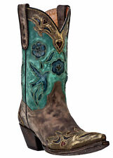 Women's Dan Post Vintage Bluebird Sanded Copper/Turquoise Snip Toe Western Boot