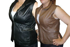 Women Vest Black Or Brown Genuine Soft Napa Leather zipper closure Nice Fit 3019