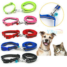 Pets Cat Adjustable Reflective Safety Nylon Collar Dog Walking Leash W/ Bell Set