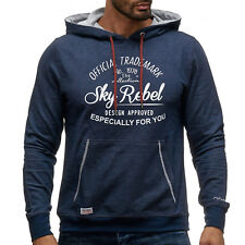 Mens hoodie sweatshirt pullover hooded blue heather casual