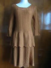 NWT Anthropologie women's dark yellow knitted tiered dress size XS,M,L $148