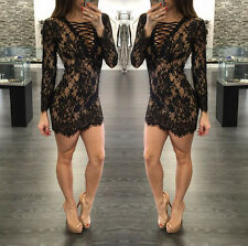 Black Women Cocktail Party Long Sleeve Dresses Lace Up Mini Dress Party 34701
