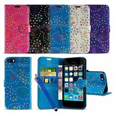 Apple iPhone SE - Textured Diamond Flower Wallet Case Cover with SP & Stylus Pen