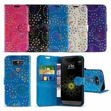 LG G5 / H850 - Textured Diamond Flower Wallet Case Cover with Screen Protector