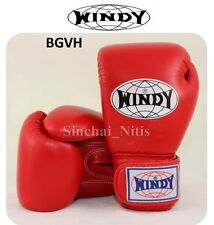 BOXING GLOVES VELCRO WINDY RED MUAY THAI FIGHTING BGVH LEATHER 8,10,12,14,16oz
