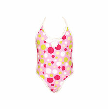 Elfindollkids Girls Bright Dots Overall Swimsuit in Pink SZ2,3,4,5,6,7,8,9,10,12
