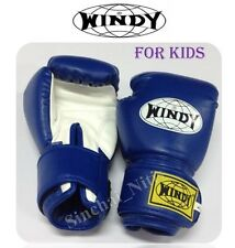 BOXING GLOVES FOR KIDS WINDY DARK BLUE  MUAY THAI FIGHTING MMA SYNTHETIC LEATHER