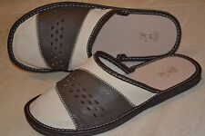 Mens Sheep Leather White Gray Slippers Sandal Shoes Handmade In Poland Scuffs