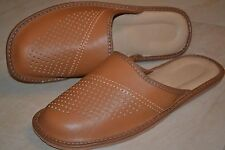 Mens Genuine Leather Slippers Shoes Sandal Tan Handmade In Poland Orthopaedic