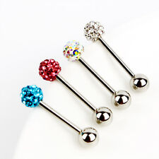 1pc 14G Crystal Disco Ball Bar Barbell Stainless Steel Tongue Ring Stud Piercing
