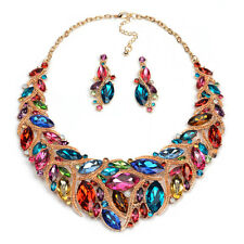 2016 New Fashion Luxury Crystal Statement Women Bib Necklace+ Earrings Set