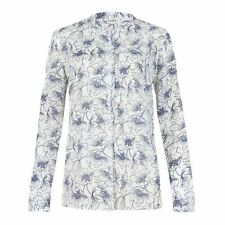 Ex Chainstore Floral Print Blouse Shirt Top White/Navy Flower Size 8 12 16 20