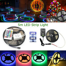 12V 5M 3528 5050 SMD 300Leds LED Strips Strp Light Waterproof Cool Warm RGB Hot