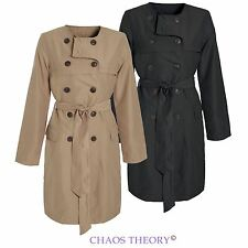 Womens Ladies Mac TrenchJacket Microfibre Double Breasted Tie Belted Coat