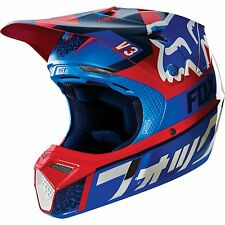 **CLOSEOUT** Fox Racing Youth V3 Divizion Red Blue Motocross MX ATV Helmet