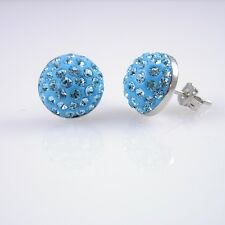 Crystal Round Resin Disco Ball Sterling Silver Stud Earrings