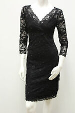 Marina Beaded 3/4 Sleeve Lace Tiers Evening/Cocktail Dress
