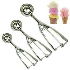 Stainless Steel Ice Cream Craft Scoop Cookie Mash Spring Handle Spoon 4/5/6cm