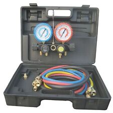 Refrigeration Air Conditioning 4 Way Manifold Gauge Sets and Hoses