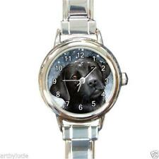 Italian Charm Watch Round Square Dog 100 black Labrador art L.Dumas