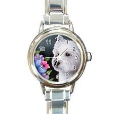 Italian Charm Watch Round Square Heart Dog 82 White Westie art painting L.Dumas