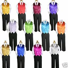 4pc Boys Teen Infant Toddler Kid Wedding Formal Party Vest Necktie Set Suit S-20