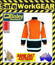 Bisley Orange/Navy 3m Taped 2 Tone Hi Vis Shell Rain Jacket Wet Weather Gear