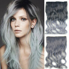 Clip In Long Straight/Wavy Synthetic 5 Clips Hair Extensions Black To Light Gray