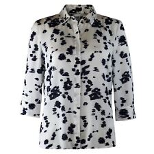 Ex Chainstore White Blouse Shirt Top Navy Abstract Print Smart Office 8 10 16