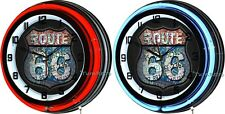 """Route 66 Highway 18"""" Double Neon Wall Clock Vintage Style Retro Man Cave Decor"""