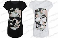 Womens Camouflage Skull Glitter Print Short Sleeve Summer Tunic T-Shirt Top 8-14