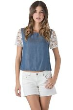 Standards & Practices Womens Tencel Denim Button Back Lace Short Sleeve Boxy Top