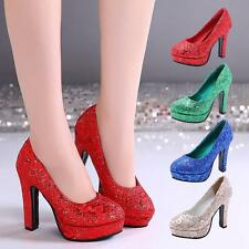 Women's Glitter Platform Pumps sequins Banquet High Heel Wedding Party Shoes NEW