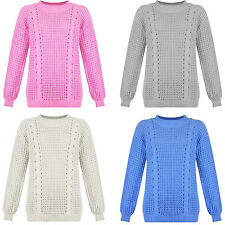 Womens Ladies Long sleeve Thick Cable Knit Round Neck Warm Pull over Jumper