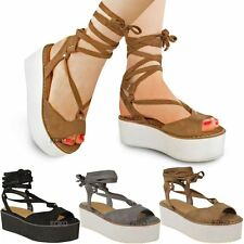 Womens Ladies Flatforms Wedge Sandals Ankle Lace Up Platforms Strappy Shoes Size