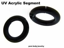 PAIR 8G 6G 4G 2G 0G 00G BLACK UV ACRYLIC Light Weight SEGMENT SEAMLESS HOOP RING