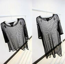 Fashion See Tee Shirt Hot Mesh Sheer Through Blouse Short Sleeve Sexy Women Tops