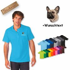 Polo Shirt Shirt Cotton Embroidery Dog French Bulldog Fawn +Text of your choice