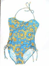 NWT Your Best Look One Piece Halter Swimsuit Blue/Gold Print Size 12, 14