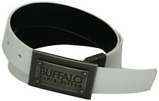 Buffalo by David Bitton Layered Plaque Buckle White Reversible Mens Belt