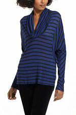 Anthropologie  NEW Striped Cowlneck  Dolman Top Tee by Splendid Blue Size XS $84