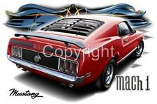1970 Ford Mustang  Mach 1 Muscle Car Tshirts NWT automotive art