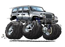 Jeep Wrangler Unlimited JKU Cartoon Tshirt  #0587GA JK off road automotive art