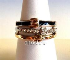 Belt Buckle Ring Enamel Crystal Thin Stackable Silver Rose Gold Plated Western