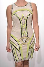 Embellished dress cut out cream bodycon neon bead deco gatsby 1920's Size 6 8 10